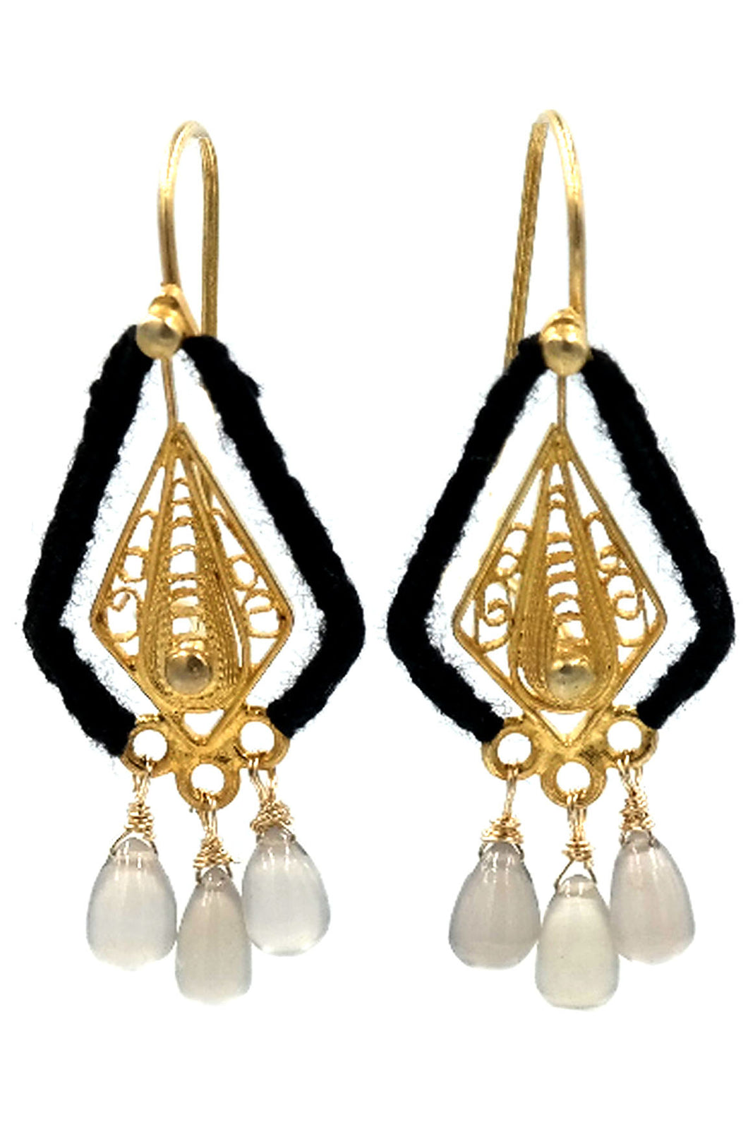 Gold Filigree Grey Chalcedony Drop Earrings