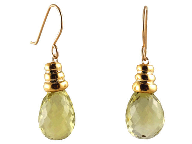faceted lemon citrine & gold cap drop earrings