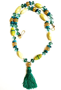 Mixed Bead Peruvian Tassel Necklace In Green