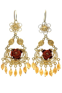Filigree Flower Crochet & Citrine Drop Earrings