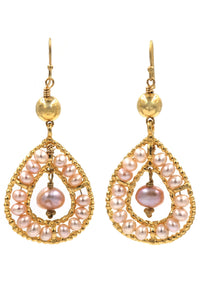 Fresh Water Pearl Gold Tear Drop Earrings