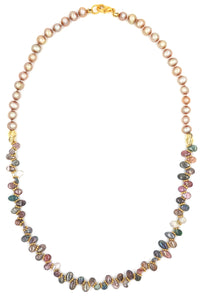 Watermelon Tourmaline & Fresh WaterPearl Knotted Necklace
