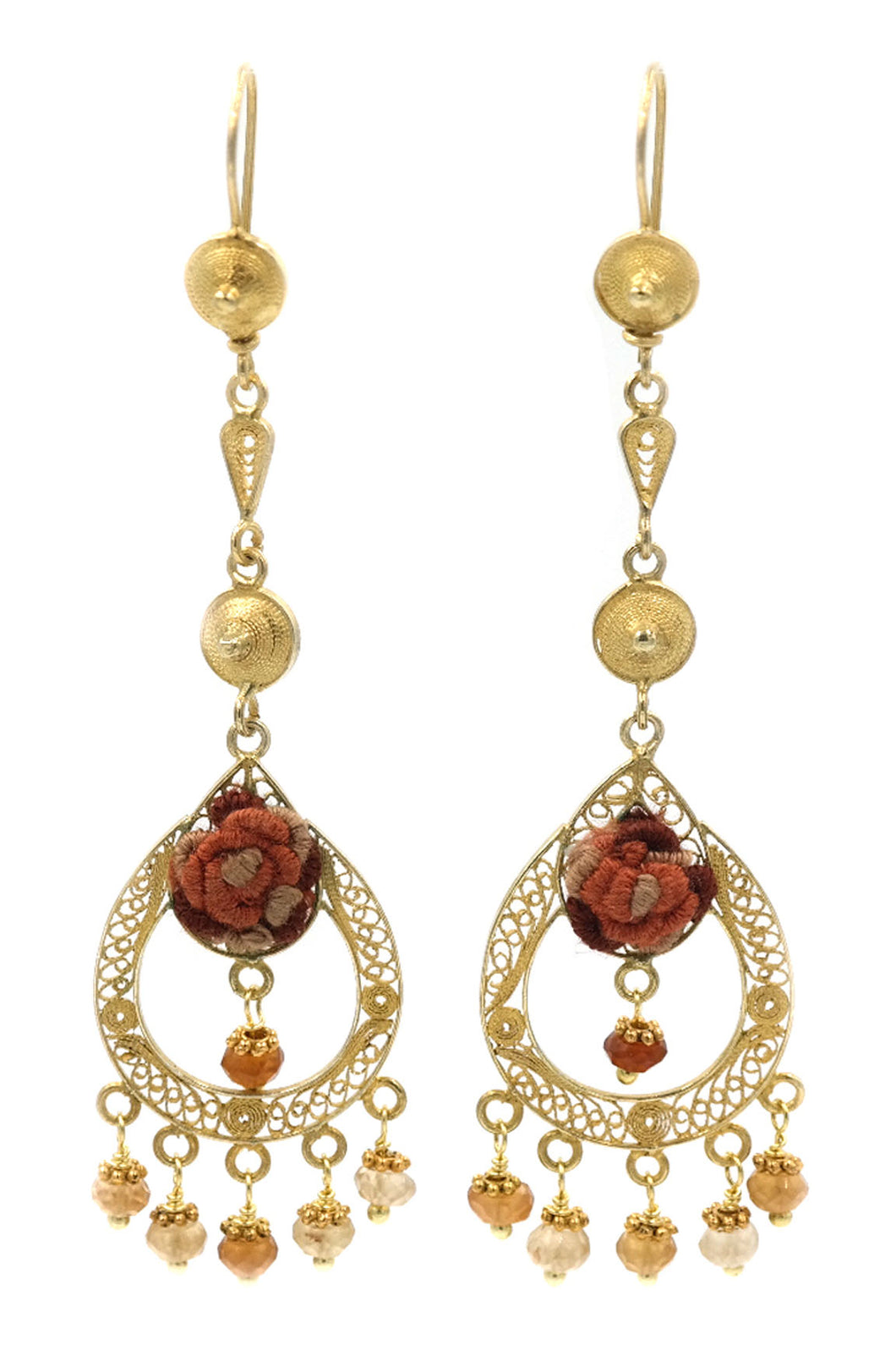 Gold Filigree Chandelier Brown Garnet Earrings