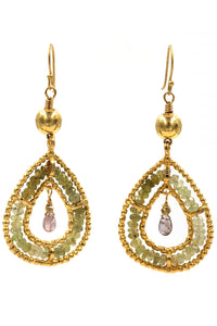 Green Garnet & Tourmaline Gold Tear Drop Earrings
