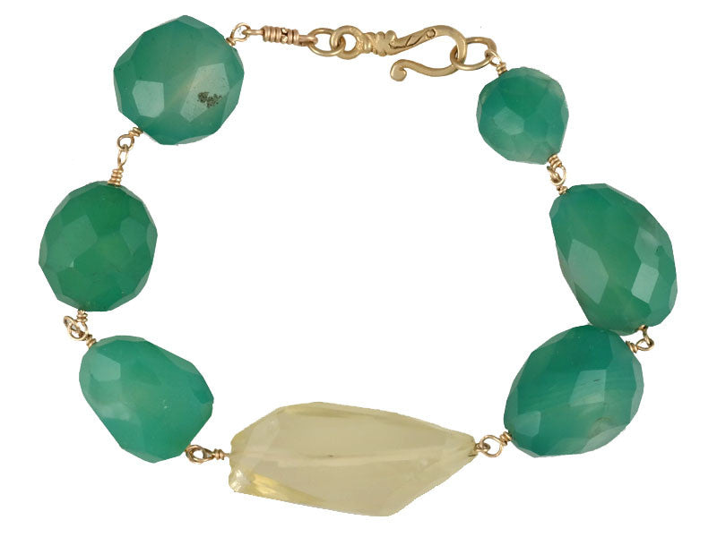 Green Calcite & Lemon Citrine Rosary Bracelet