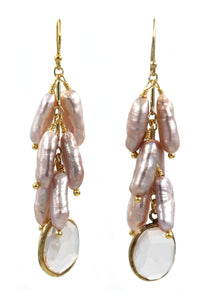 Rose Quartz & Fresh Water Pearl Cluster Drop Earrings