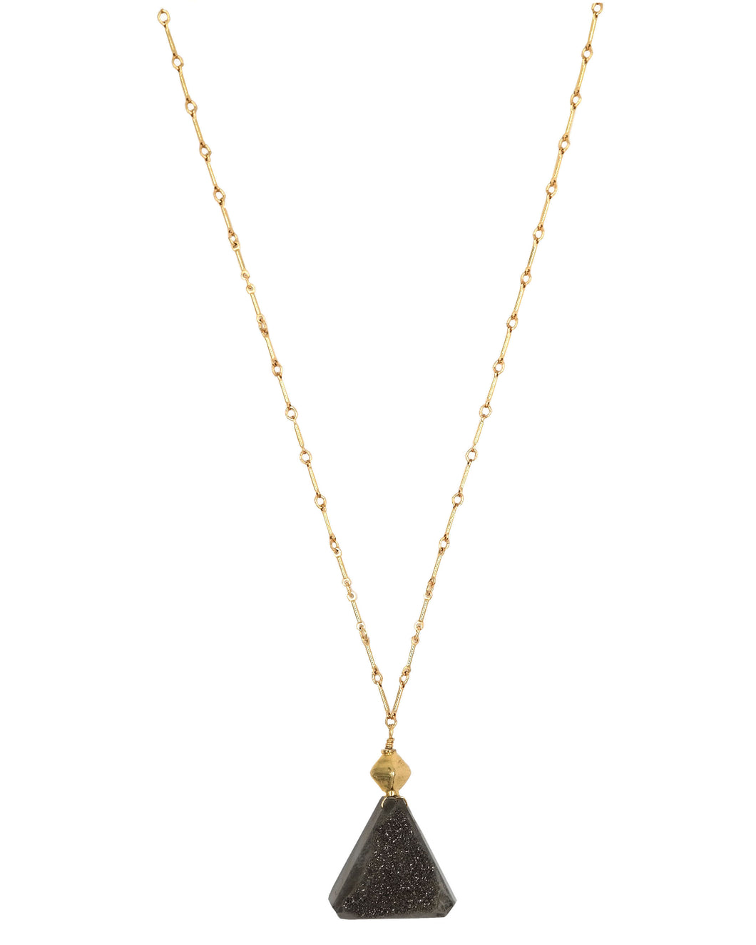Gold Grey Druzy Triangle Drop Necklace