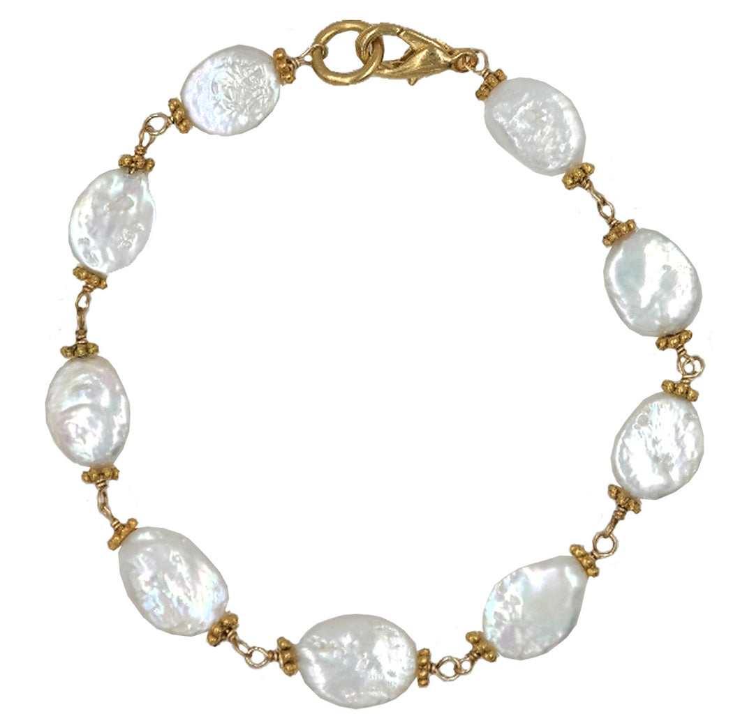 Fresh Water Pearl Wire Wrap Bracelet With Gold Lobster Clasp