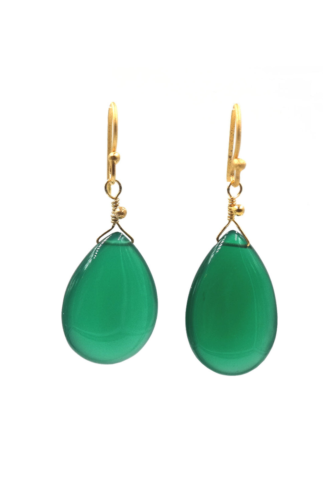 Gold Green Onyx Tear Drop