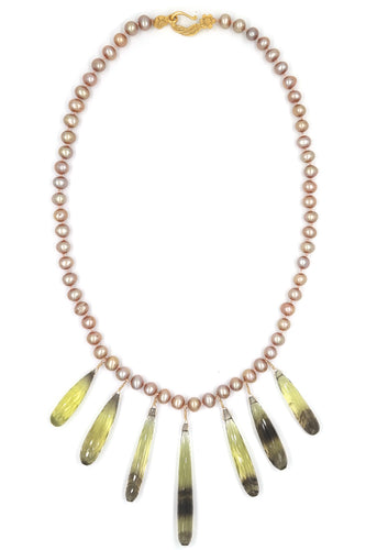 FreshWater Pearl & Lemon Citrine Knotted Necklace