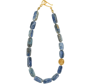 Tanzanite Gold Bead Knotted Necklace