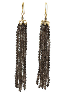 Smokey Topaz Tassel Earrings
