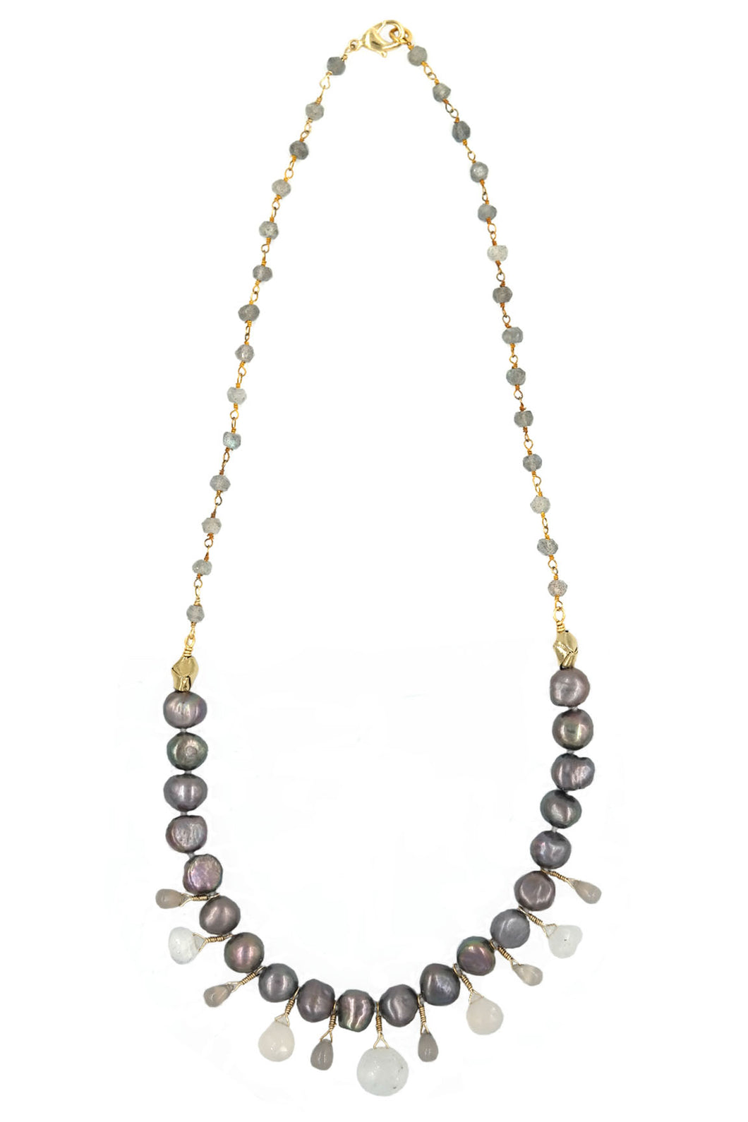 Labradorite & FreshWater Pearl Mix Gemstone Drop Necklace