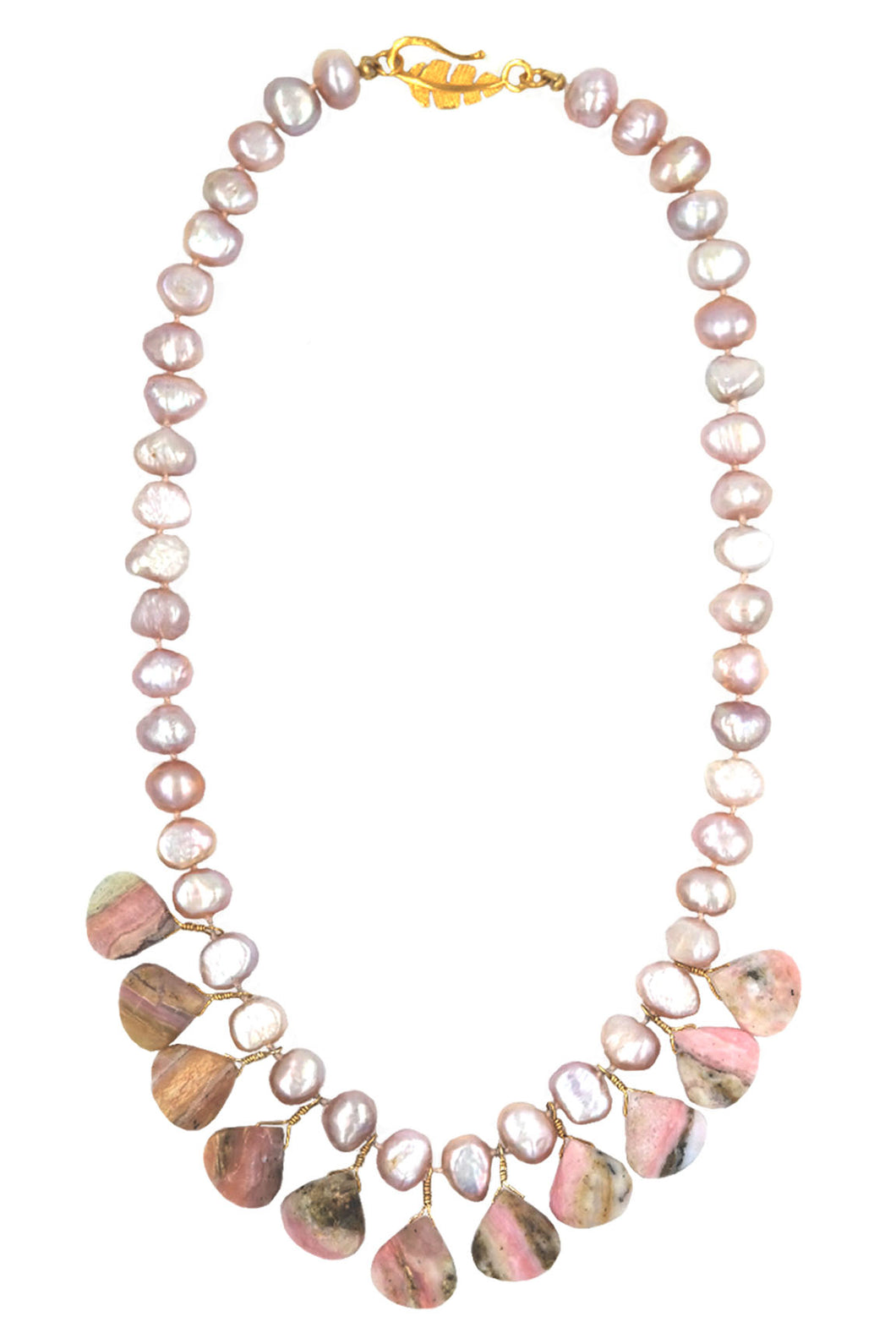 Pink Rhodochrosite & Pink Pearl Knotted Necklace