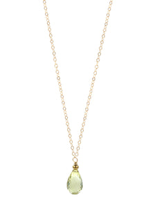 Gold Lemon Citrine Drop Necklace