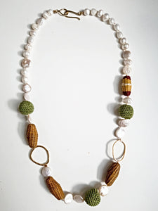 Colorful Raffia Bead & Freshwater Pearl Necklace