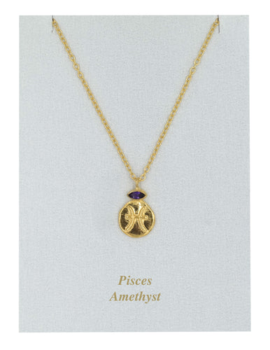 Pisces Zodiac Gold Necklace