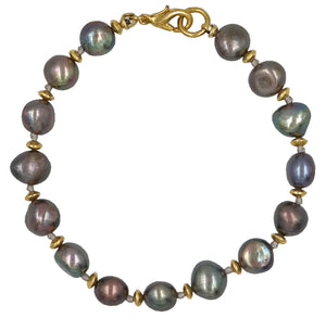Fresh Water Pearl Knotted Bracelet With Gold Lobster Clasp