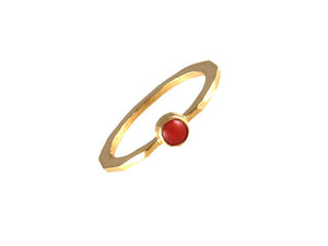Gold Single Stone Coral Ring