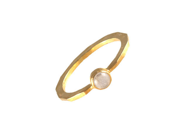 Gold Single Stone Rainbow Moonstone Ring