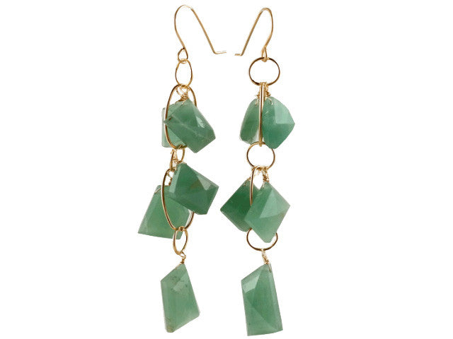 green aventurine  cluster earrings