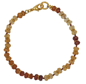 Brown Garnet Knotted Bracelet With Gold Lobster Clasp