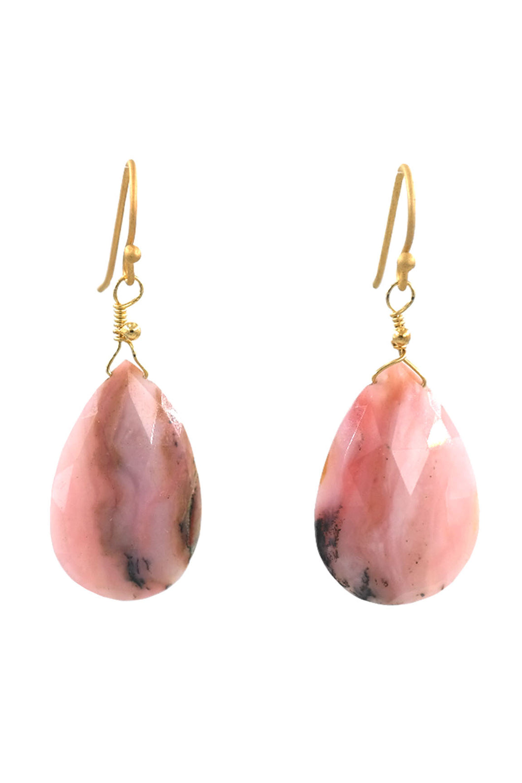 Pink Rhodochrosite Tear Drop Earrings