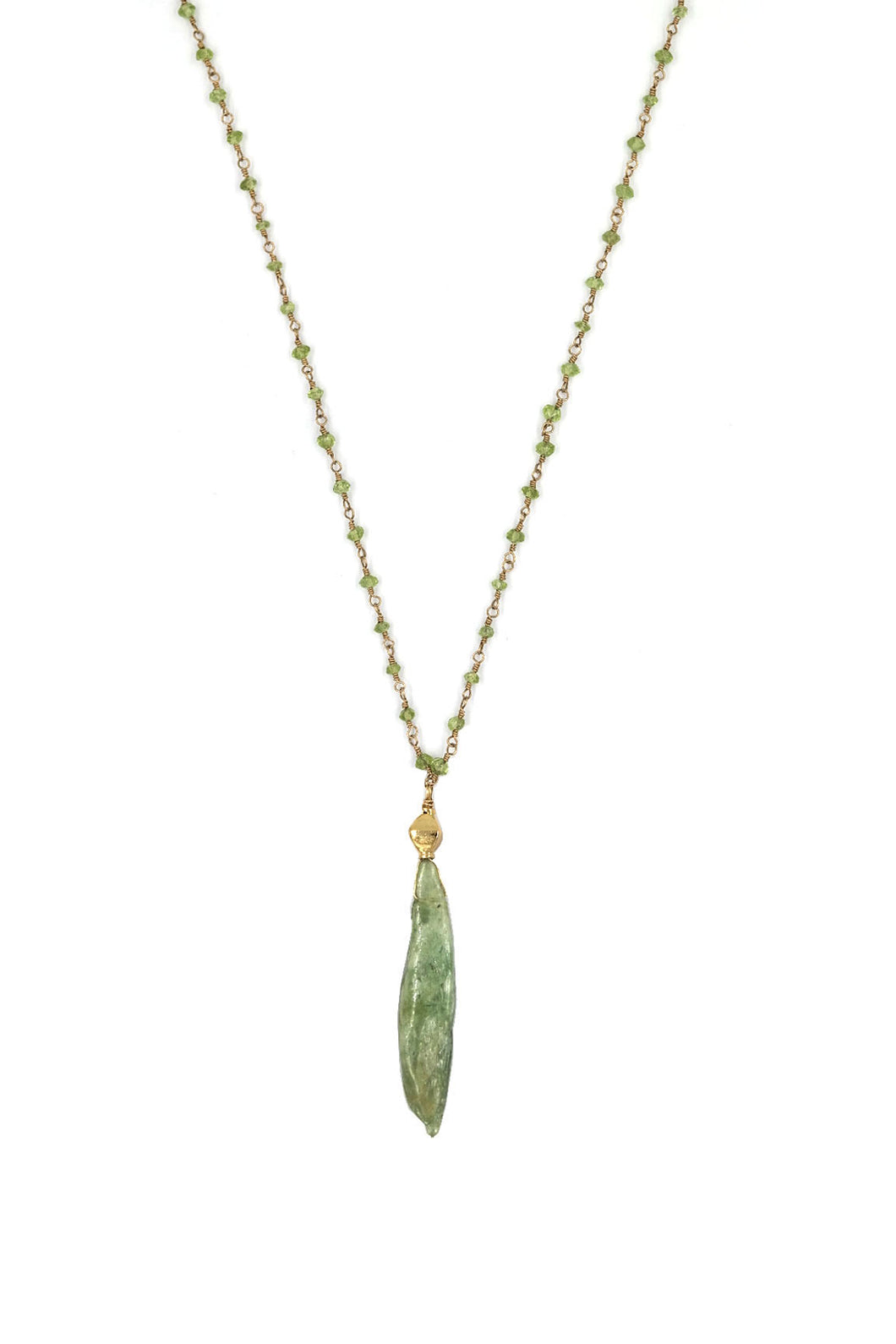 Peridot Rosary Long Necklace with Prenite Drop