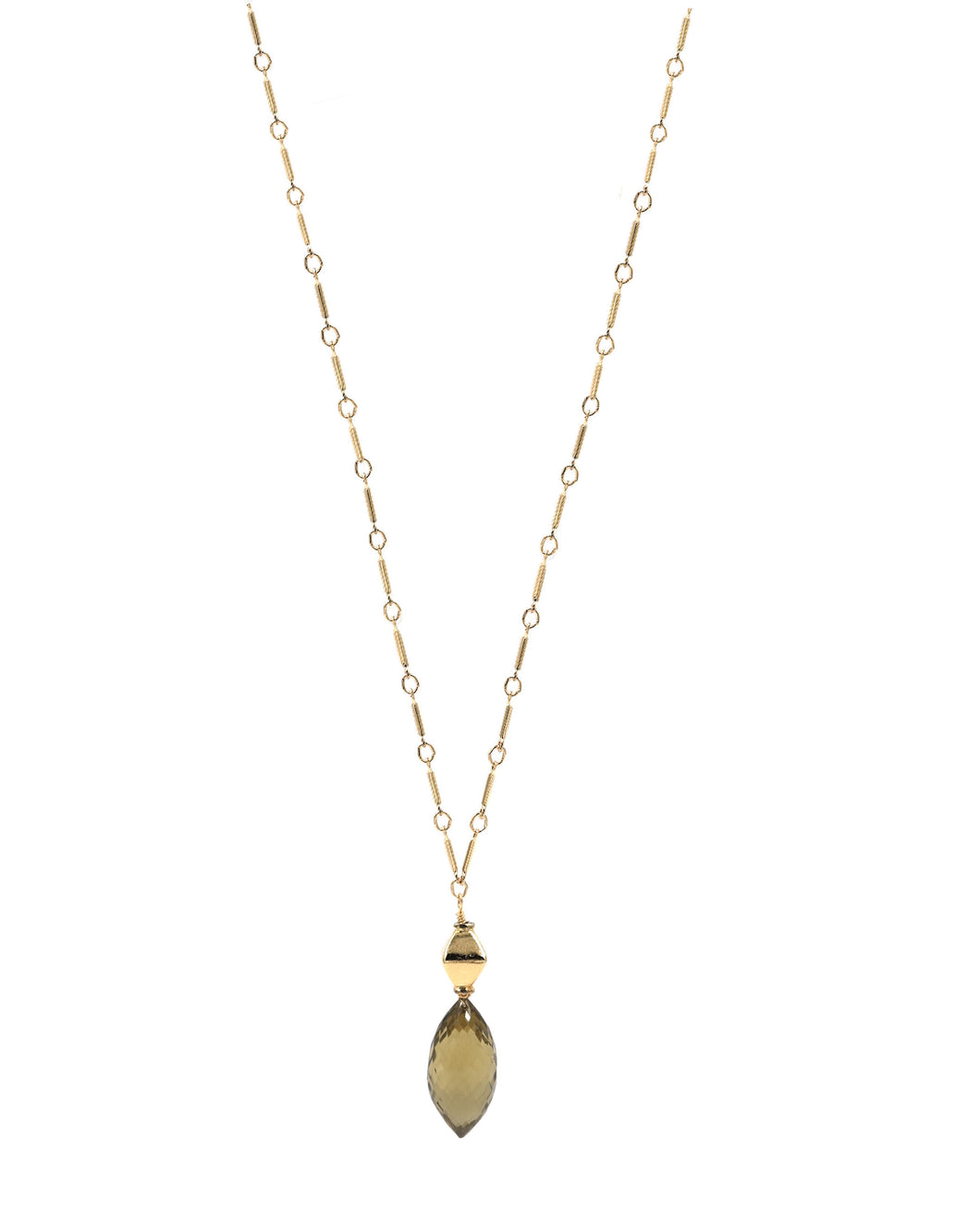 Gold Smokey Topaz Drop Necklace
