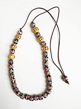 Leather Cord Necklace With Red & Gold African Beads