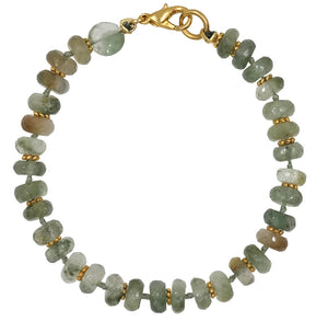 Green Garnet Knotted Bracelet With Gold Lobster Clasp