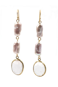 Rose Quartz & Fresh Water Pearl Drop Earrings