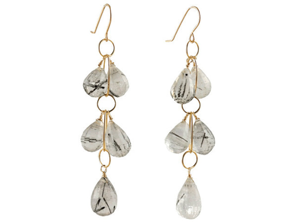 Rutilated Quartz Cluster Earring