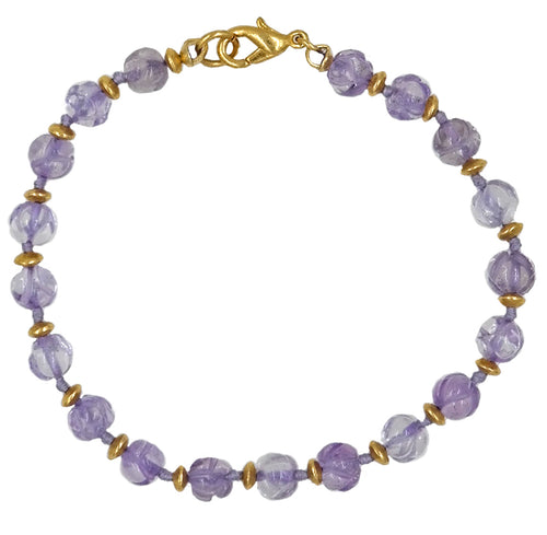 Amethyst Knotted Bracelet With Gold Lobster Clasp