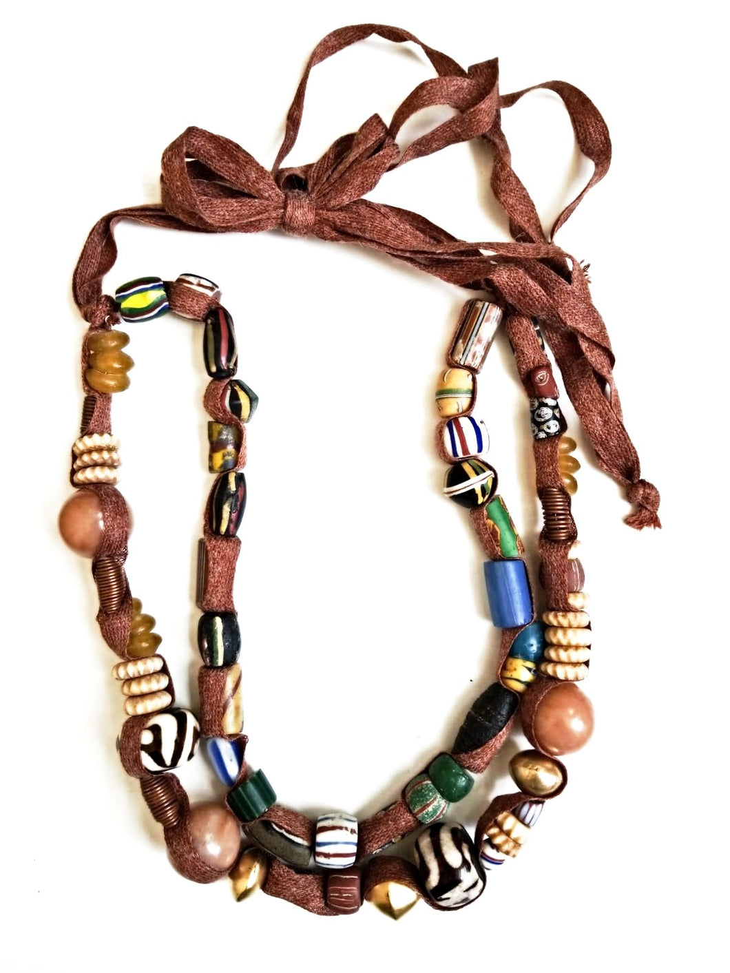 Double Strand African Mix Bead Necklace