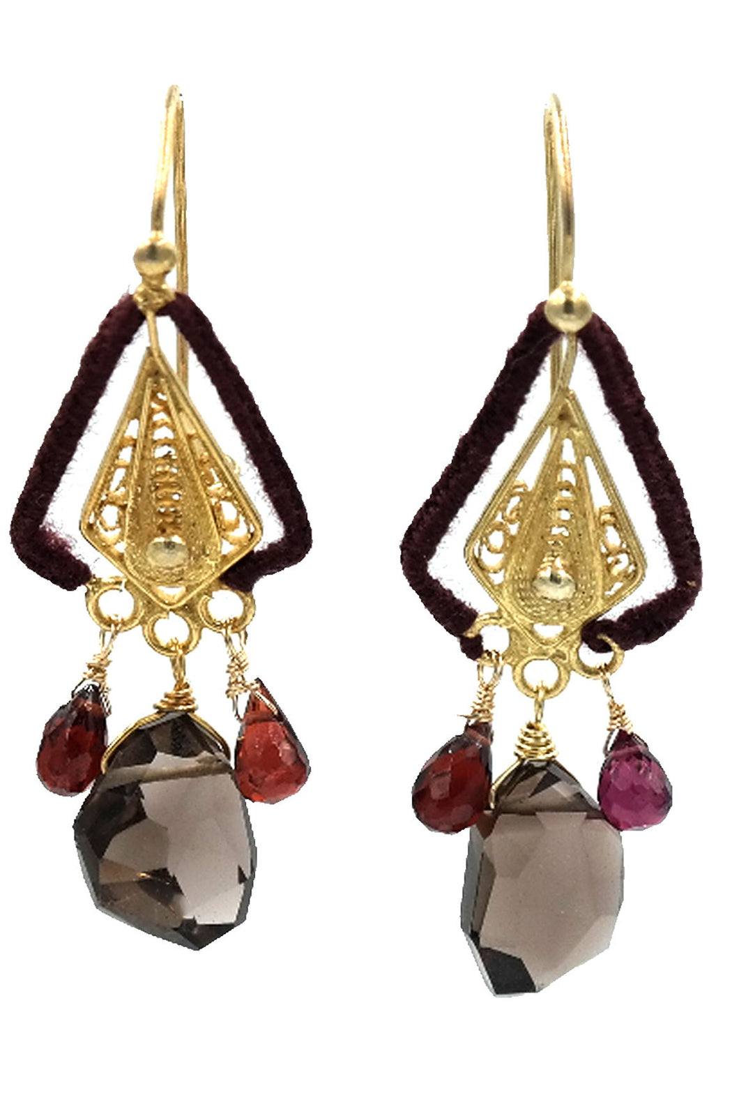 Smokey Topaz & Garnet Drop Earrings