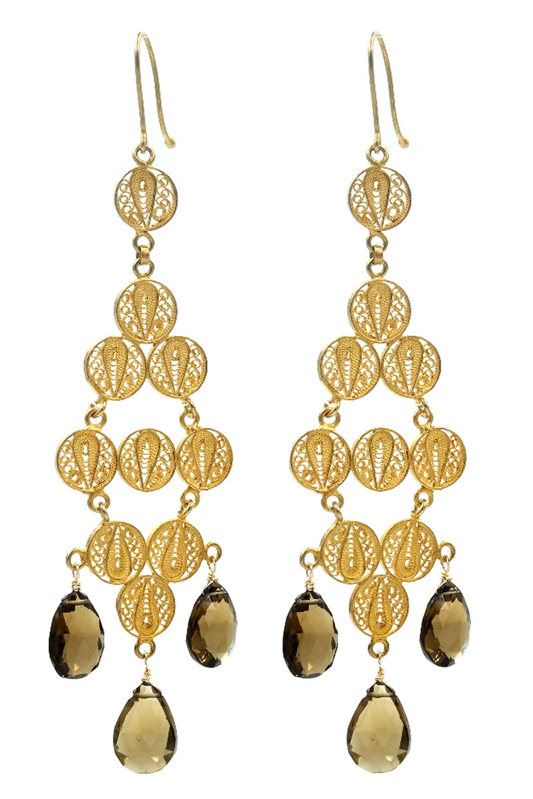 Gold Filigree Lattice & Smokey Topaz Drop Earrings