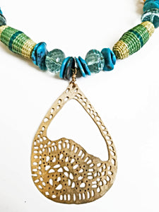 Mixed Bead Peruvian Filigree Pendant Necklace