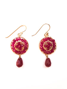 Beaded Ruby Earrings
