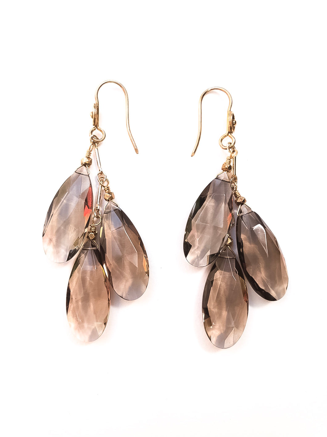 Smokey Topaz Glass Teardrop Cluster Earrings