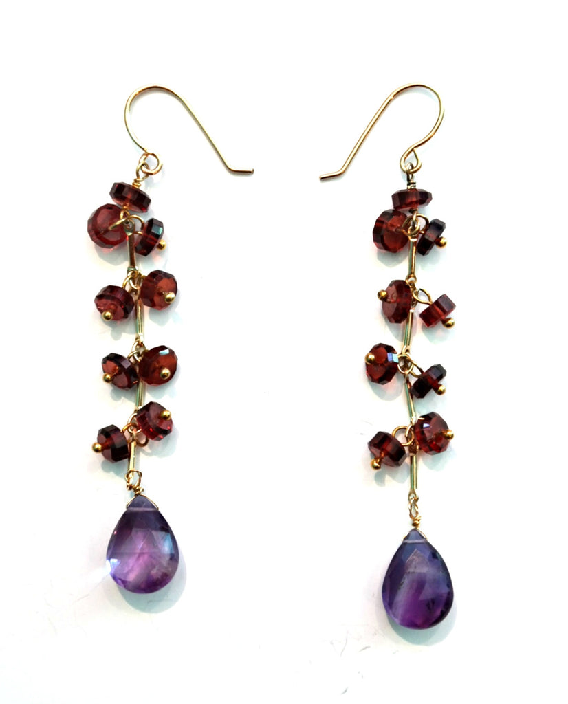 Long Garnet Bead Earrings With Amethyst Teardrop