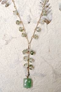 Aventurine Pendant Necklace With Faceted Cat's Eye Beads