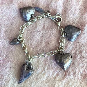 Sterling Bracelet with Five Hearts