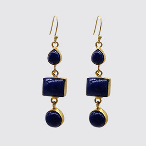Lapis Bezel Set Earrings