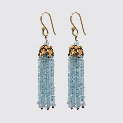 Aquamarine Tassel Earrings