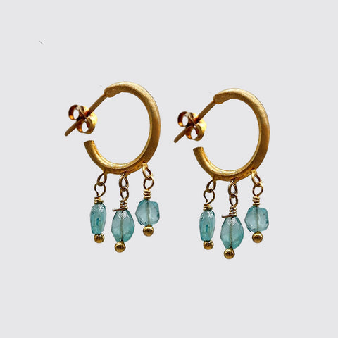 Baby Apatite Hoop Earrings