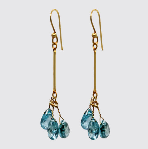 Faceted Apatite Briolettes on Bar
