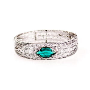 Silver Filigree Emerald Bangle