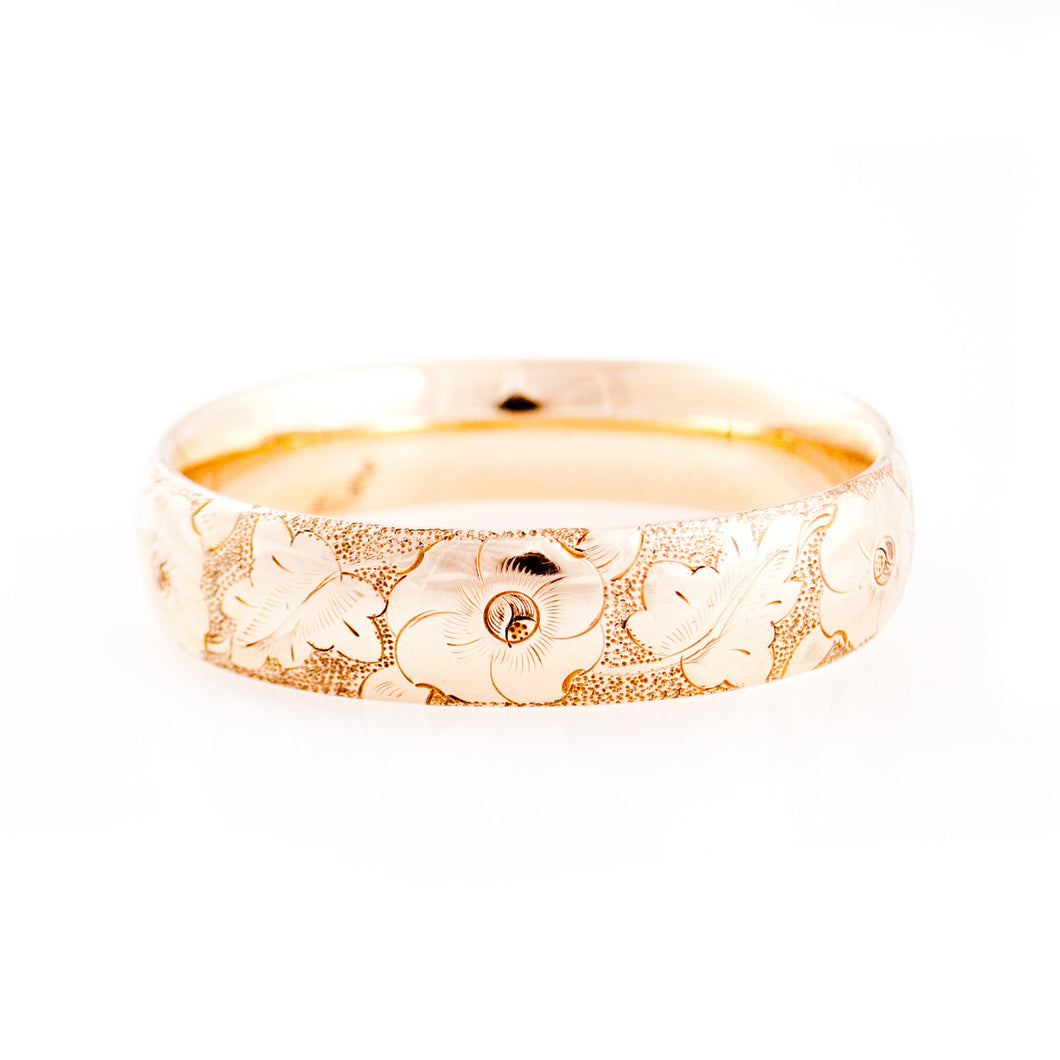 Flower Etched Gold Bangle