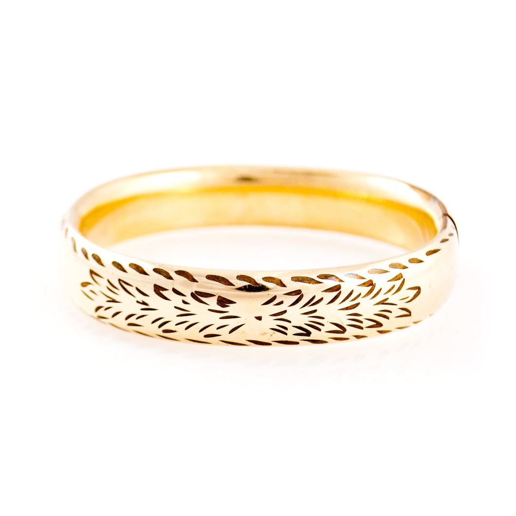 Gold Etched Bangle